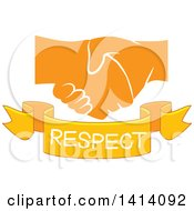 Clipart Of Shaking Yellow Hands With A Respect Text Banner Royalty Free Vector Illustration