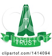 Clipart Of Green Hands With A Trust Text Banner Royalty Free Vector Illustration