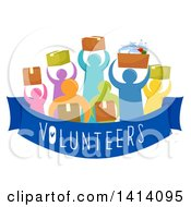 Clipart Of A Crowd Of Volunteers Carrying Boxes Of Donated Goods Royalty Free Vector Illustration