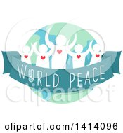 Clipart Of A Crowd Of People Tied By A Ribbon With World Peace Written On It Royalty Free Vector Illustration by BNP Design Studio