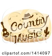 Clipart Of A Country Music Concert Design With A Cowboy Hat Guitar And Cactus Royalty Free Vector Illustration