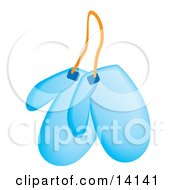 Pair Of Blue Kitchen Mits Food Clipart Illustration by Rasmussen Images