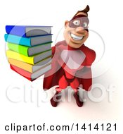 Clipart Of A 3d Buff Red White Male Super Hero On A White Background Royalty Free Illustration by Julos