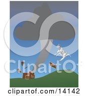 Poster, Art Print Of Cow And Pieces Of A Red Barn Flying Through The Air During A Tornado Natural Hazard