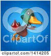 Clipart Of A 3d Mallard Drake Duck Royalty Free Illustration