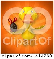 Clipart Of A 3d Yellow Duck Royalty Free Illustration