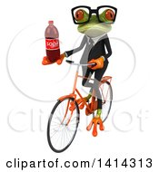 Clipart Of A 3d Green Business Springer Frog Riding A Bicycle On A White Background Royalty Free Illustration