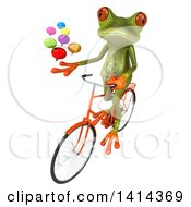 Clipart Of A 3d Green Springer Frog Riding A Bicycle On A White Background Royalty Free Illustration