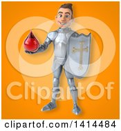 Clipart Of A 3d Caucasian Male Armored Knight Royalty Free Illustration