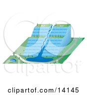 Unique Environmental Glass Skyscraper Building With A Waterfall And Tiers Of Gardens Clipart Illustration