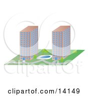 Pond Between Two Commercial Buildings Clipart Illustration