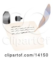 Ink Bottle By A Quill That Is Writing On A Piece Of Paper School Clipart Illustration