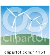 Wind Turbines On A Hill Generating Electricity Clipart Illustration