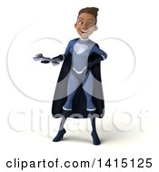 Clipart Of A 3d Young Female Black Super Hero In A Dark Blue Suit On A White Background Royalty Free Illustration by Julos