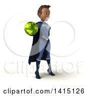 Clipart Of A 3d Young Female Indian Super Hero In A Dark Blue Suit On A White Background Royalty Free Illustration by Julos