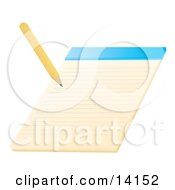 Pencil Writing On A Notepad School Clipart Illustration