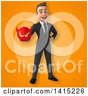 Clipart Of A 3d Young White Business Man Royalty Free Illustration