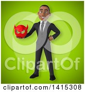 Clipart Of A 3d Young Black Business Man Royalty Free Illustration