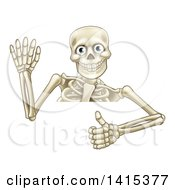 Clipart Of A Cartoon Human Skeleton Waving And Holding A Thumb Up Over A Sign Royalty Free Vector Illustration by AtStockIllustration