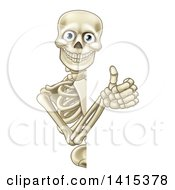 Clipart Of A Cartoon Human Skeleton Giving A Thumb Up Around A Sign Royalty Free Vector Illustration by AtStockIllustration
