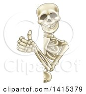 Cartoon Human Skeleton Giving A Thumb Up Around A Sign