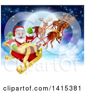 Clipart Of A Team Of Magic Christmas Reindeer Flying Santa In A Sleigh Above The Clouds Against A Full Moon Royalty Free Vector Illustration