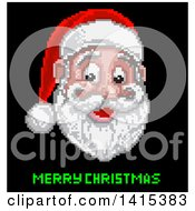 Clipart Of A Retro Pixelated Santa Claus Face Over Merry Christmas Text On Black Royalty Free Vector Illustration