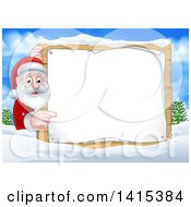 Cartoon Happy Christmas Santa Claus Pointing Around A Sign In A Winter Landscape