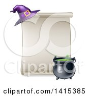 Clipart Of A Blank Scroll Sign With A Boiling Cauldron And Purple Witch Hat Royalty Free Vector Illustration by AtStockIllustration