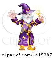 Clipart Of A Happy Old Bearded Wizard Waving And Holding Up A Magic Wand Royalty Free Vector Illustration
