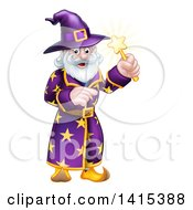 Clipart Of A Happy Old Bearded Wizard Pointing And Holding Up A Magic Wand Royalty Free Vector Illustration