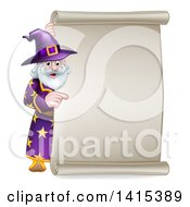 Clipart Of A Happy Old Bearded Wizard Pointing Around A Scroll Sign Royalty Free Vector Illustration
