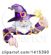 Clipart Of A Happy Old Bearded Wizard Holding A Magic Wand And Pointing Down Over A Sign Royalty Free Vector Illustration