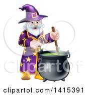 Clipart Of A Happy Old Bearded Wizard Mixing A Potion Royalty Free Vector Illustration by AtStockIllustration