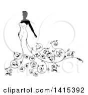 Clipart Of A Silhouetted Black And White Bride In Her Dress With Floral Swirls Royalty Free Vector Illustration