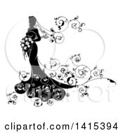 Clipart Of A Silhouetted Black And White Bride In Her Dress Holding A Bouquet With Floral Swirls Royalty Free Vector Illustration