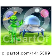 Clipart Of A Green Alien Waving By A Ufo On A Green Planet Or Moon Royalty Free Vector Illustration