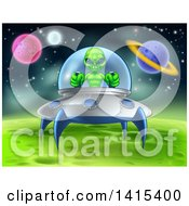 Clipart Of A Green Alien Landing A Ufo On A Green Planet Or Moon Royalty Free Vector Illustration
