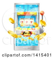 Clipart Of A 3d Casino Slot Machine Spitting Out Coins From A Smart Phone Screen Royalty Free Vector Illustration