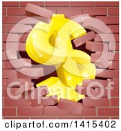 Clipart Of A 3d Gold Dollar Currency Symbol Breaking Through A Red Brick Wall Royalty Free Vector Illustration