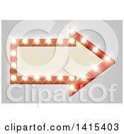 Clipart Of A Lit Theater Arrow Shaped Sign With Lights On Gray Royalty Free Vector Illustration