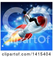 Silhouetted Businessman Sitting On A 3d Rocket And Pointing Forward Over A Blue Sky