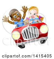 Happy White Girl Driving A Red Convertible Car And A Black Boy Holding His Arms Up In The Passenger Seat As They Catch Air