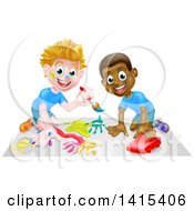 Clipart Of White And Black Boys Painting And Playing With A Toy Car Royalty Free Vector Illustration