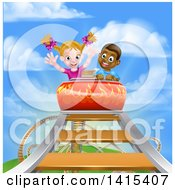 Happy White Girl And Black Boy At The Top Of A Roller Coaster Ride Against A Blue Sky With Clouds