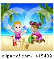 Clipart Of Happy White And Black Girls Playing And Making Sand Castles On A Tropical Beach Royalty Free Vector Illustration by AtStockIllustration