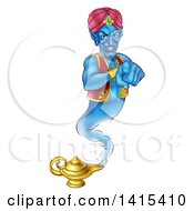 Clipart Of A Blue Genie Emerging From His Lamp And Pointing At You Royalty Free Vector Illustration by AtStockIllustration