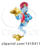 Clipart Of A Cartoon Blue Strong Blue Aladdin Genie Floating Over A Lamp With A Cloche In Hand Giving A Thumb Up Royalty Free Vector Illustration