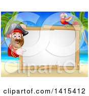Clipart Of A Hook Handed Pirate Captain With A Parrot Around A Blank Sign On A Tropical Beach Royalty Free Vector Illustration by AtStockIllustration
