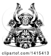 Clipart Of A Black And White Samurai Mask Royalty Free Vector Illustration by AtStockIllustration